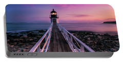 Portable Battery Charger featuring the photograph Maine Sunset At Marshall Point Lighthouse by Ranjay Mitra