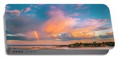 Maine Sunset - Rainbow Over Lands End Coast Portable Battery Charger