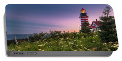 Maine West Quoddy Head Lighthouse Sunset Portable Battery Charger
