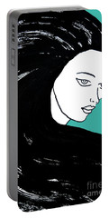 Majestic Lady J0715k Turquoise Green Pastel Painting 15-5519 41b6ab Portable Battery Charger