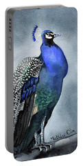 Portable Battery Charger featuring the painting Majestic Peacock by Dora Hathazi Mendes