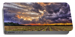 Portable Battery Charger featuring the photograph Majestic Peanut Harvest Sunset Art by Reid Callaway