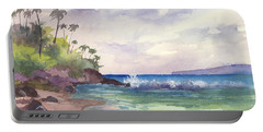 Portable Battery Charger featuring the painting Makena Maui by Darice Machel McGuire