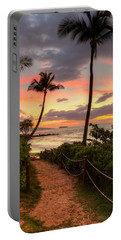 Portable Battery Charger featuring the photograph Makena Sunset Path by Susan Rissi Tregoning