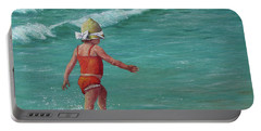 Portable Battery Charger featuring the painting Making A Splash   by Susan DeLain