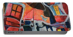 Portable Battery Charger featuring the painting Making Friends Under The Umbrella by Susan Stone