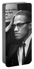 Malcolm X On Criticism Portable Battery Charger by Daniel Hagerman