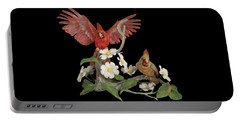 Male And Female Cardinals  Portable Battery Charger by Walter Colvin