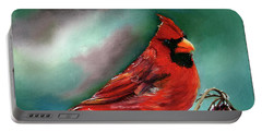 Male Cardinal And Snowy Cherries Portable Battery Charger