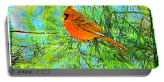 Male Cardinal In Juniper Tree Portable Battery Charger