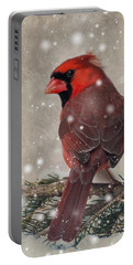 Male Cardinal In Snow #1 Portable Battery Charger