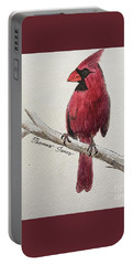 Male Cardinal In Winter Portable Battery Charger