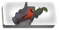 Male Cardinal Perched On Rail Portable Battery Charger