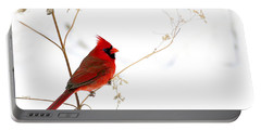 Male Cardinal Posing In The Snow Portable Battery Charger by Randall Branham