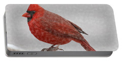 Male Cardinal In Snow Portable Battery Charger