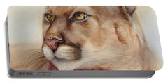 Portable Battery Charger featuring the painting Male Cougar by Bonnie Rinier