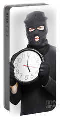 Male Criminal In Mask Holding A Clock Portable Battery Charger