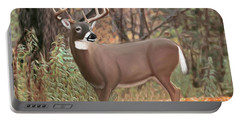 Male Mule Deer Painting Portable Battery Charger by Walter Colvin