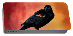 Male Red-winged Blackbird Portable Battery Charger by Cyndy Doty
