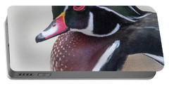 Male Wood Duck Head Portable Battery Charger