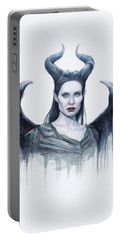 Maleficent Watercolor Portrait Portable Battery Charger