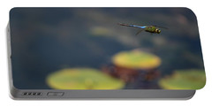 Malibu Blue Dragonfly Flying Over Lotus Pond Portable Battery Charger