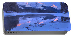 Maligne Lake Winte Pink Peak Reflections Portable Battery Charger