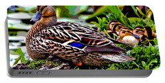Mallard And Chicks Portable Battery Charger by Charles Shoup