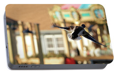 Mallard Duck And Carousel Portable Battery Charger by Geraldine Scull