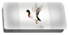 Mallard Flying Away Watercolor Portable Battery Charger