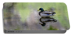 Portable Battery Charger featuring the photograph Mallard In Mountain Water by Mark Myhaver
