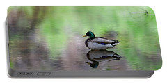Portable Battery Charger featuring the photograph Mallard In Reflecting Pool H58 by Mark Myhaver