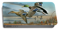 Mallards In Flight Portable Battery Charger by Mike Brown