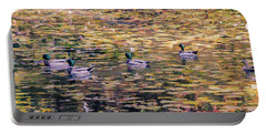 Mallards On Autumn Pond Portable Battery Charger