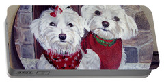 Maltese Pair Portable Battery Charger by Ruanna Sion Shadd a'Dann'l Yoder