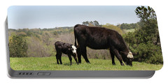 Mama Cow And Calf In Texas Pasture Portable Battery Charger