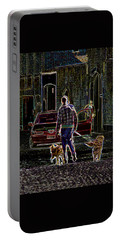 Man And Best Friends Portable Battery Charger by Rhonda McDougall