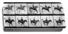 Man And Horse Jumping Portable Battery Charger by Eadweard Muybridge