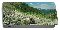 Man And Llama Packing Over A High Alpine Mountain Pass Portable Battery Charger by Jerry Voss