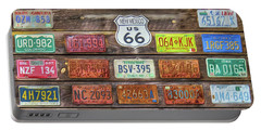 Portable Battery Charger featuring the photograph Man Cave License Plates by Marion Johnson