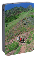 Man Hiking With Llama High Alpine Mountain Trail Portable Battery Charger by Jerry Voss