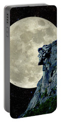 Man In The Moon Meets Old Man Of The Mountain Vertical Portable Battery Charger by Larry Landolfi