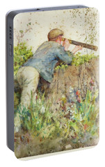 Portable Battery Charger featuring the painting Man Looking Through A Telescope by Henry Scott Tuke