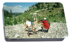 Man Posing With His Llama High Mountain Pass Portable Battery Charger by Jerry Voss
