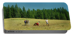 Man Posing With Llamas In A Beautiful Grassy Meadow Portable Battery Charger