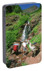 Man Posing With Two Llamas Mountain Waterfall Portable Battery Charger by Jerry Voss