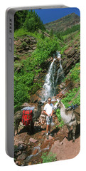 Man Posing With Two Llamas Mountain Waterfall Portable Battery Charger
