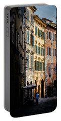 Man Walking Alone In Small Street In Siena, Tuscany, Italy Portable Battery Charger