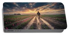 Portable Battery Charger featuring the photograph Man Watching Sunrise In Tulip Field by William Lee