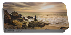 Man Watching Sunset In Malibu Portable Battery Charger